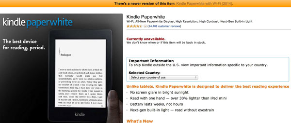 Kindle Paperwhite 2014